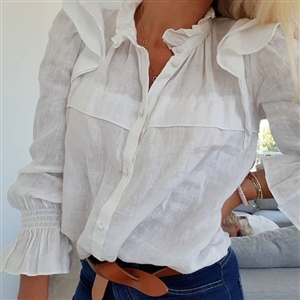 Ruffle Blouse (Wine/Navy/Pink/Black/Ivory) (will ship within 1~2 weeks)