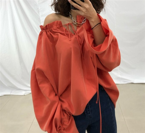 Rebecca Blouse (Orange/SkyBlue/Black) (will ship within 1~2 weeks)