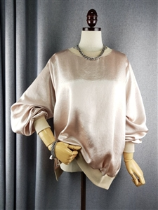 Satin Top (Beige/Black/Ivory) (will ship within 1~2 weeks)