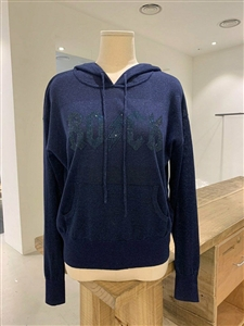 Navy Rock Knit Hoodie (S/M/L) (will ship within 1~2 weeks)