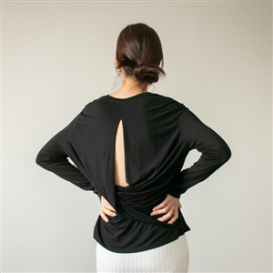 Black Back Twisted Top (Great for Yoga & Pilates) (will ship within 1~2 weeks)