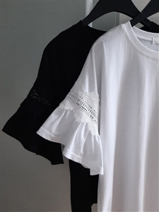 Lace Sleeve Top (Black/White) (will ship within 1~2 weeks)