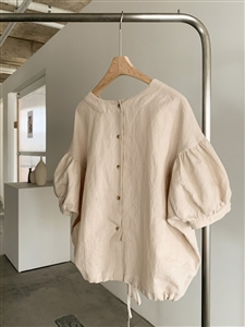 Back Button Puff Sleeve Blouse (White/Beige/Yellow/Brown) (will ship within 1~2 weeks)
