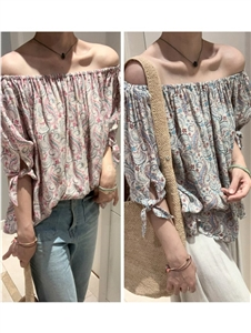 Isabel Off Shoulder Blouse (Blue/Pink) (will ship within 1~2 weeks)