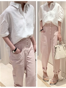 Linen Le mer Shirt (SkinBeige/Ivory/Pink) (will ship within 1~2 weeks)