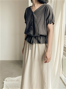 Shirring Blouse (Beige/Camel/Charcoal/White) (will ship within 1~2 weeks)