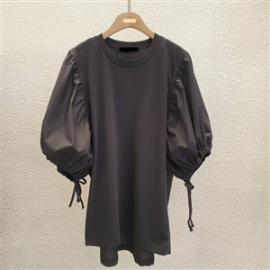 Puff Blouse (Charcoal/Ivory) (will ship within 1~2 weeks)