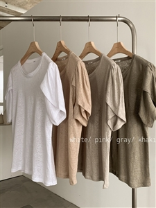 Unique Sleeve Top (White/Pink/Gray/Khaki) (will ship within 1~2 weeks)