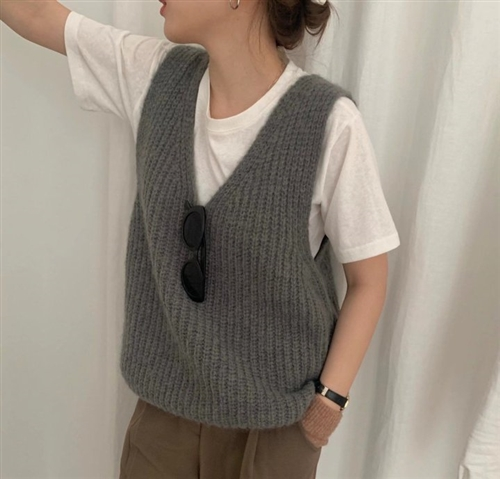 Alpaca Knit Vest (Ivory/Beige/Gray) (will ship within 1~2 weeks)