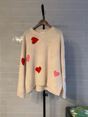 Red Pink Heart Cashmere 100 Knit (S/M/L) (will ship within 1~2 weeks)