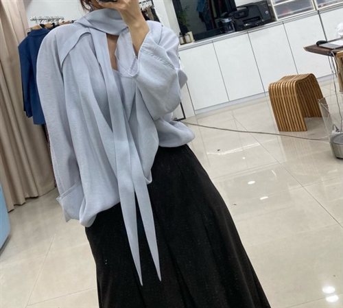 Scarf Blouse (Black/Gray) (will ship within 1~2 weeks)