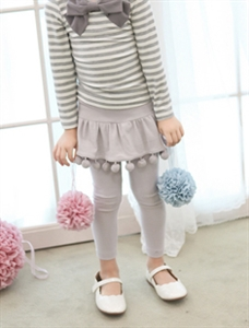 Pom Pom Skirt Leggings (Pink/Gray) (Age5~6)