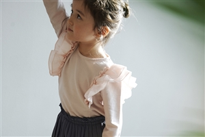 Frill Top (Pink/Ivory) (Size : 9 - 5~6T)
