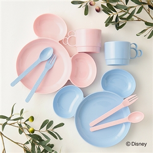 FrancFranc Miscky Plate and Utensil Set (White/Pink) (will ship within 1 week)