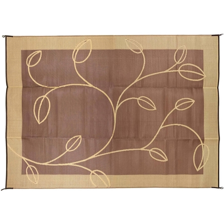 Camco 42855 RV Reversible Outdoor Mat - Brown/Tan Leaf Design - 9' x 12'