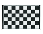 Camco 42884 Reversible Black/White Checkered Outdoor Mat - 9' x 6'