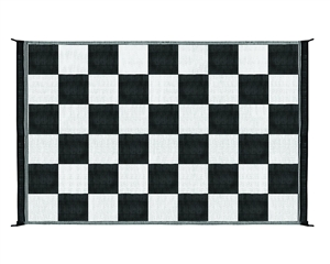 Camco 42884 Reversible RV Outdoor Mat - Black & White Checkered  - 9' x 6'
