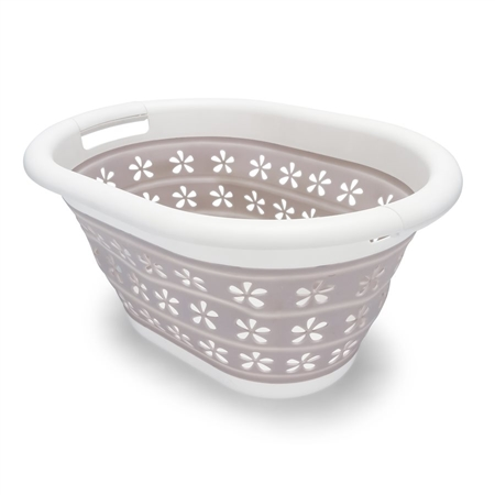 Camco 51951 Collapsible Utility Basket - Small - White/Taupe