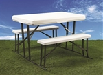 "Faulkner 69863 Folding Table And Benches - 28-3/4"" H x 44-1/2"" W"