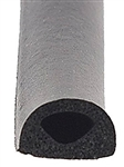 "AP Products 018-224 Black Non-Ribbed D Seal With Tape - 1/2"" x 3/8"" x 50'"
