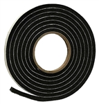 "AP Products 018-3161210 Black Rubber Foam Weather Stripping - 3/16"" x 1/2"" x 10'"
