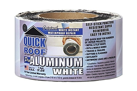 "CoFair Products Quick Roof Aluminum White Roof Repair Tape - 3"" x 25'"