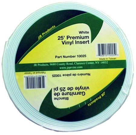 JR Products 10025 Premium Vinyl Insert - White 25' x 1""