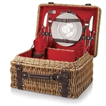 Picnic Time Champion Picnic Basket - Red Lining and Napkins; Dark Brown Leatherette Straps