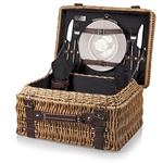 Picnic Time Champion Picnic Basket - Black Lining and Napkins; Dark Brown Leatherette Straps