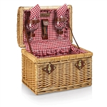 Picnic Time Chardonnay Wine Basket - Red Check