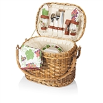 Picnic Time Romance Picnic Basket - Burgundy with Nouveau Grape Print