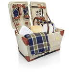 Picnic Time Pioneer Picnic Basket - Tan with Navy/Khaki Plaid