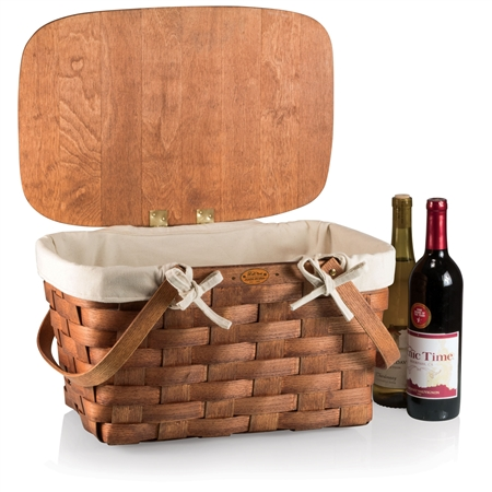 Picnic Time Prairie Picnic Basket with Lining - Wood/Beige/Tan
