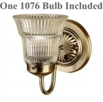 Gustafson Antique Brass Wall Light w/ Crystal Shad