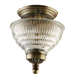 Gustafson Antique Brass Ceiling Light w/ Crystal Shade
