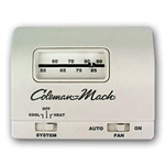 Coleman Mach Wall Thermostat, Single Stage Heat/Cool, White; 24VAC, No Display