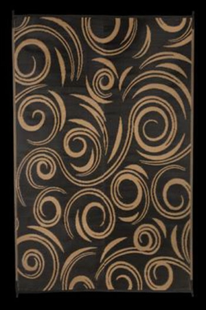 Faulkner 68946 Reversible RV Outdoor Patio Mat - Black & Beige Swirl Design - 9' x 12'