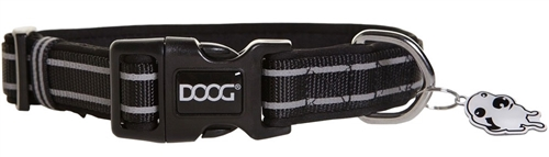 "Doog COLBFL-M Lassie Pet Collar - 12-18"" - Black/Gray Stripes"