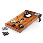 Picnic Time 768-00-000-000-0 Mini Bean Bag Throw - Wood Grain with Bean Bag Toss and Tic-Tac-Toe Designs