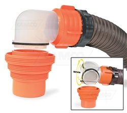 Camco 39733 RhinoFLEX RV Sewer Hose Swivel Elbow with 4-In-1 Adapter