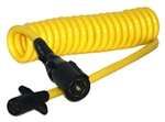 JetConnex 12492-02 Yellow Coiled Cable 7  Round To 5  Round Female 6'