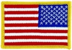 "United States Flag Patch Left-Facing - 3"" - Gold Border"