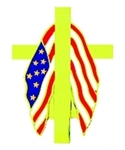 Memorial Flag And Cross Pin