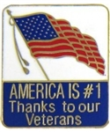 America Is #1 Thanks To Our Veterans Pin
