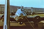 Photo of a Boeing B-17G Flying Fortress heavy bomber on the runway in World War 2.