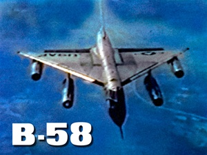 Color photo of a Convair B-58 Hustler supersonic jet bomber, holder of numerous international speed and altitude records.