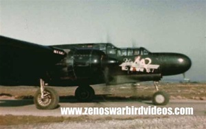 Color photo of a Northrop P-61 Black Widow night fighter ready to take off against Nazi Germany from a base in Belgium during World War 2.