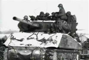 Photo of a M4 Sherman tank taken during the Battle for St Vith in the Battle of the Bulge during World War 2