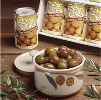 graber olive bowl with six tins olives