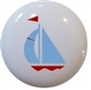 Light Blue and Red Sailboat Knob